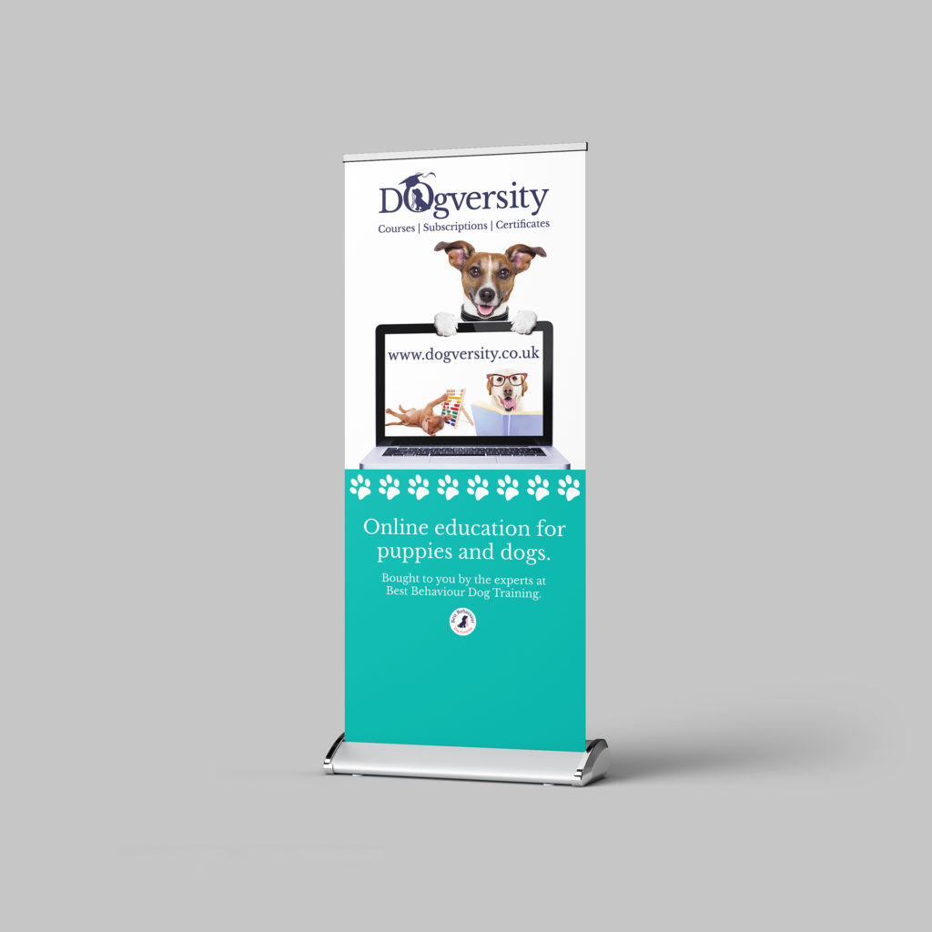 Roller banner for Dogversity showing a dog with a laptop