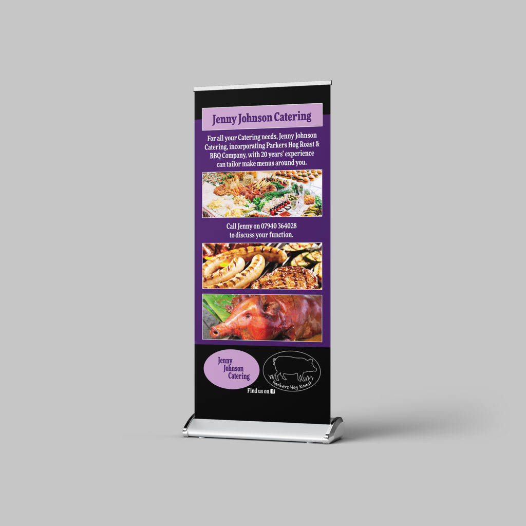 Roller banner for Jenny Johnson Catering showing a selection of food