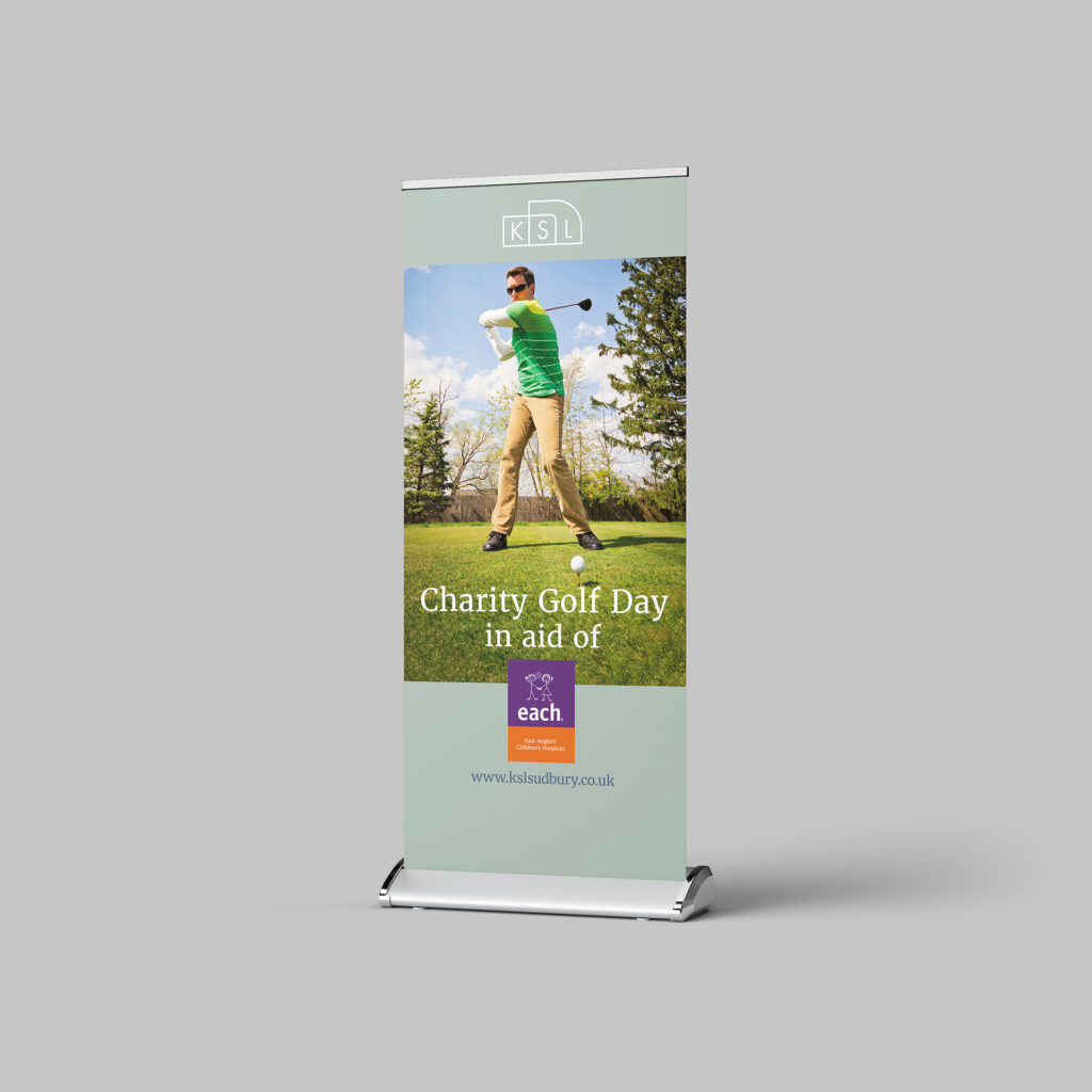 Roller banner for KSL charity golf day in aid of EACH