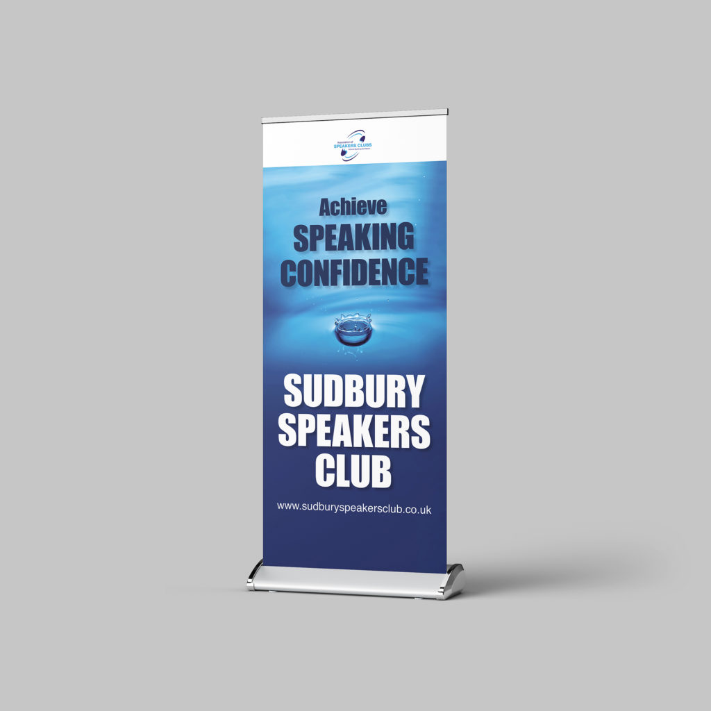Roller banner for Sudbury Speakers Club