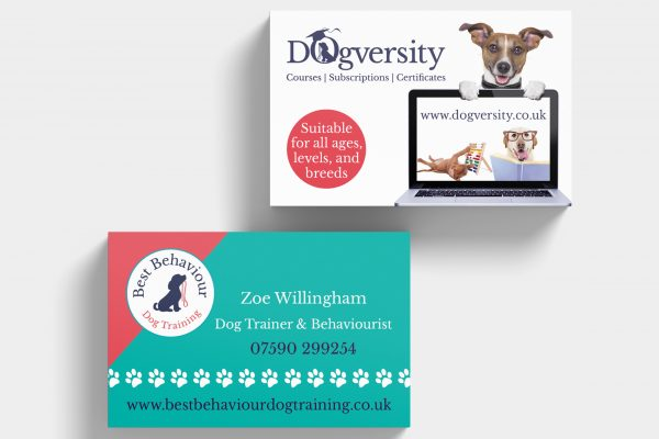 Dogversity business cards on a grey background