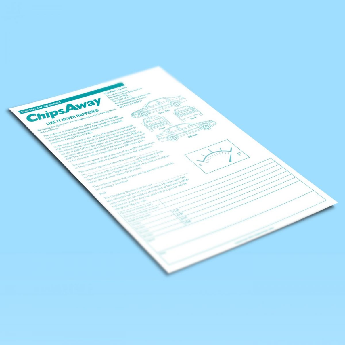 Estimate pads print for ChipsAway Ipswich