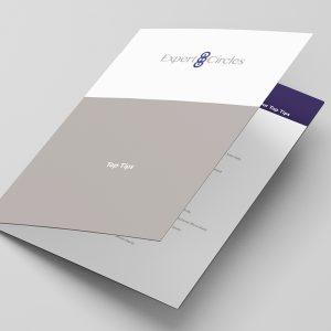 Folded leaflet on a grey background