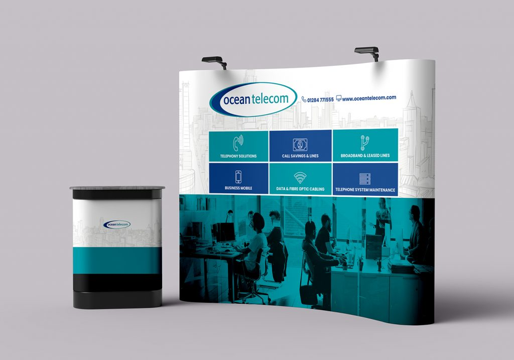 Ocean Telecom pop up display with a white top