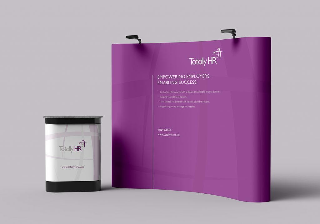 Totally HR pop up display with lecturn