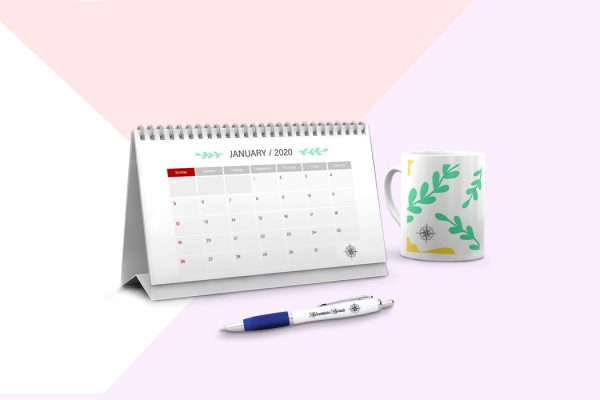 Wiro bound desk calendar with mug and pen