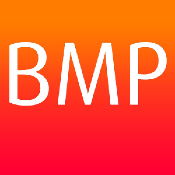 BMP file format with white text on a graduated orange background