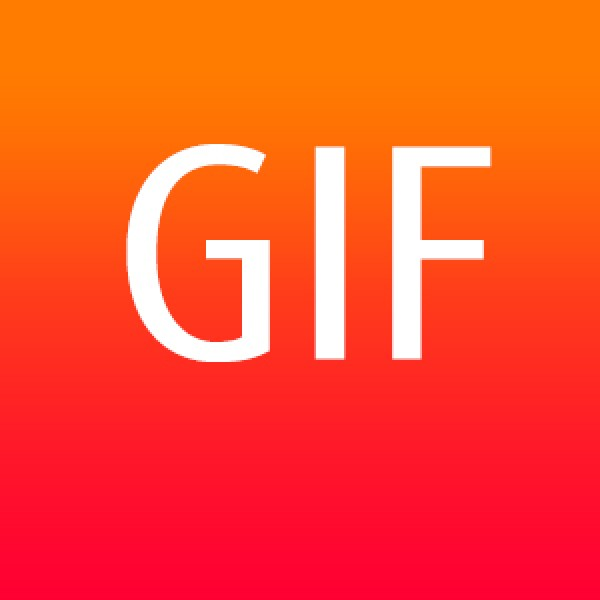 GIF file format with white text on a graduated orange background