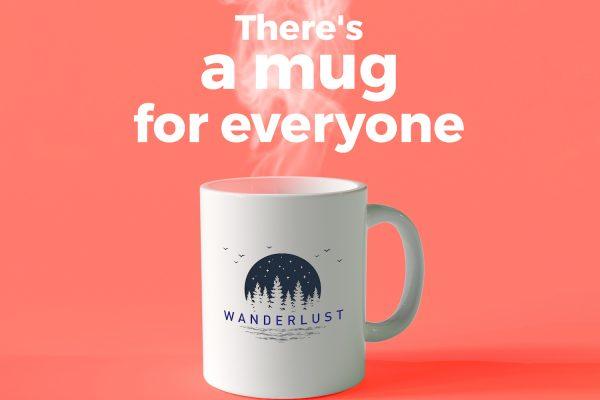 Mug on orange background
