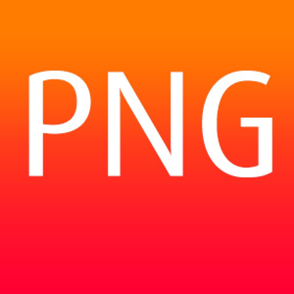 PNG file format with white text on a graduated orange background