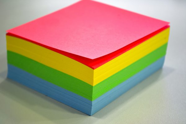 Stack of coloured paper