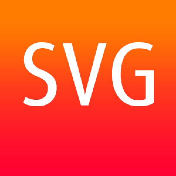 SVG file format with white text on a graduated orange background