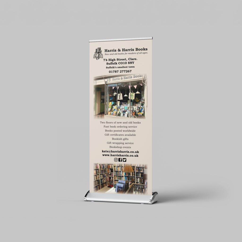 Roller banner for Harris and Harris books