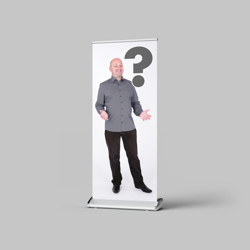 Sean Billings roller banner with a question mark