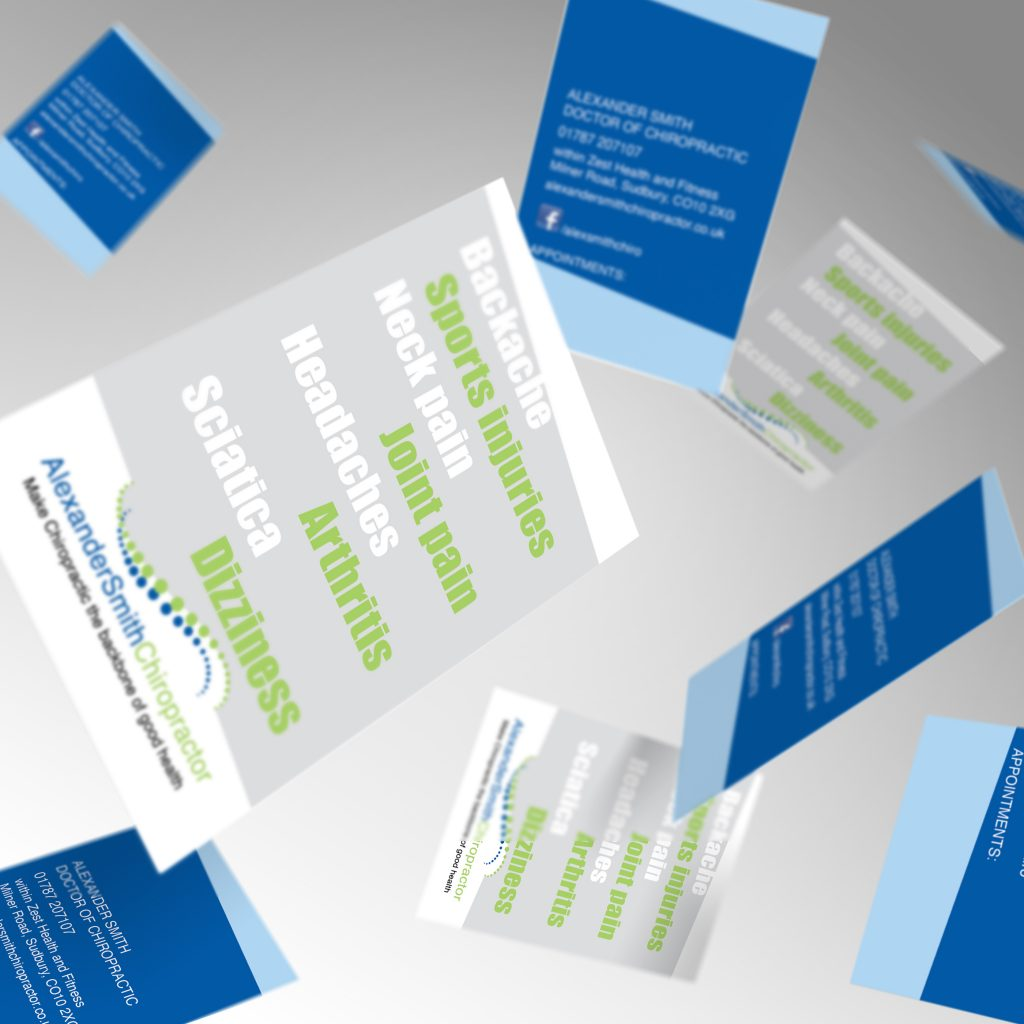 Alexander Smith Chiropractor business cards showing front and back