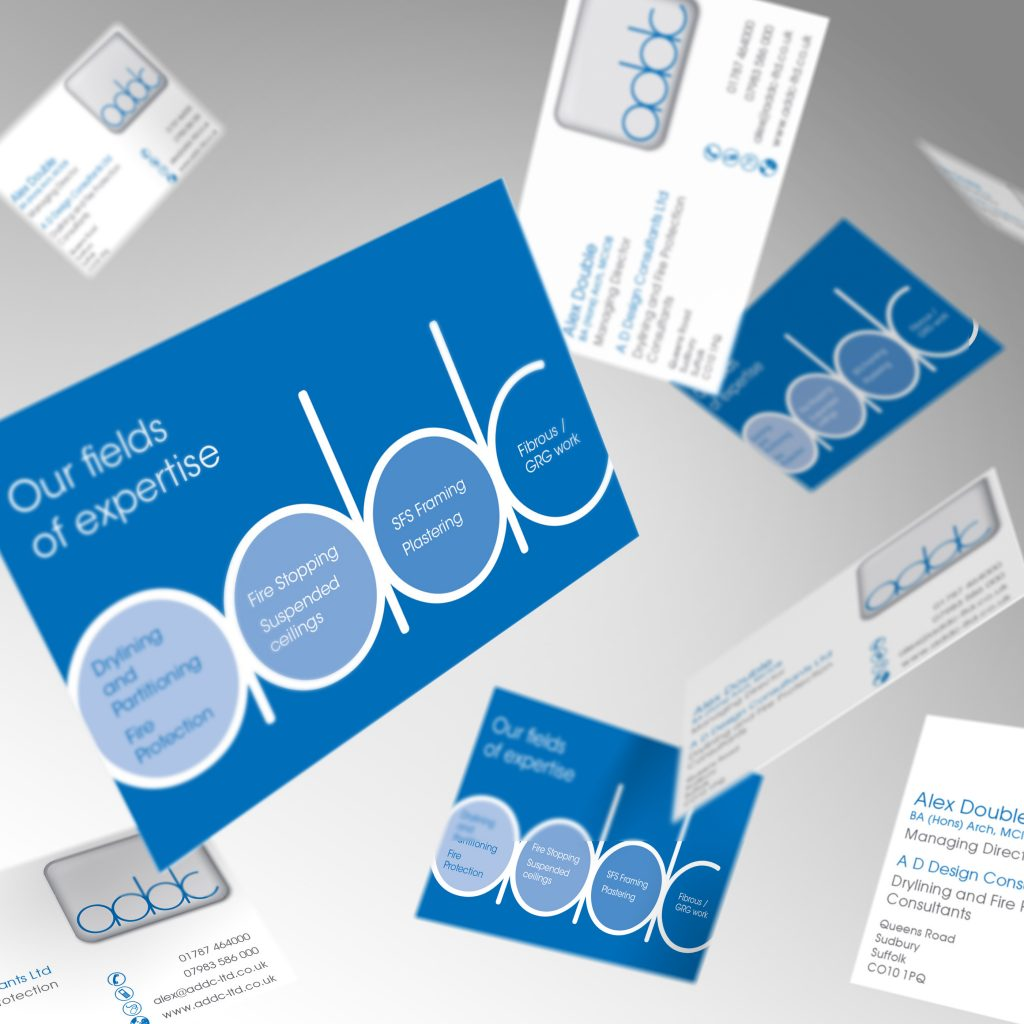 ADDC business cards showing front and back