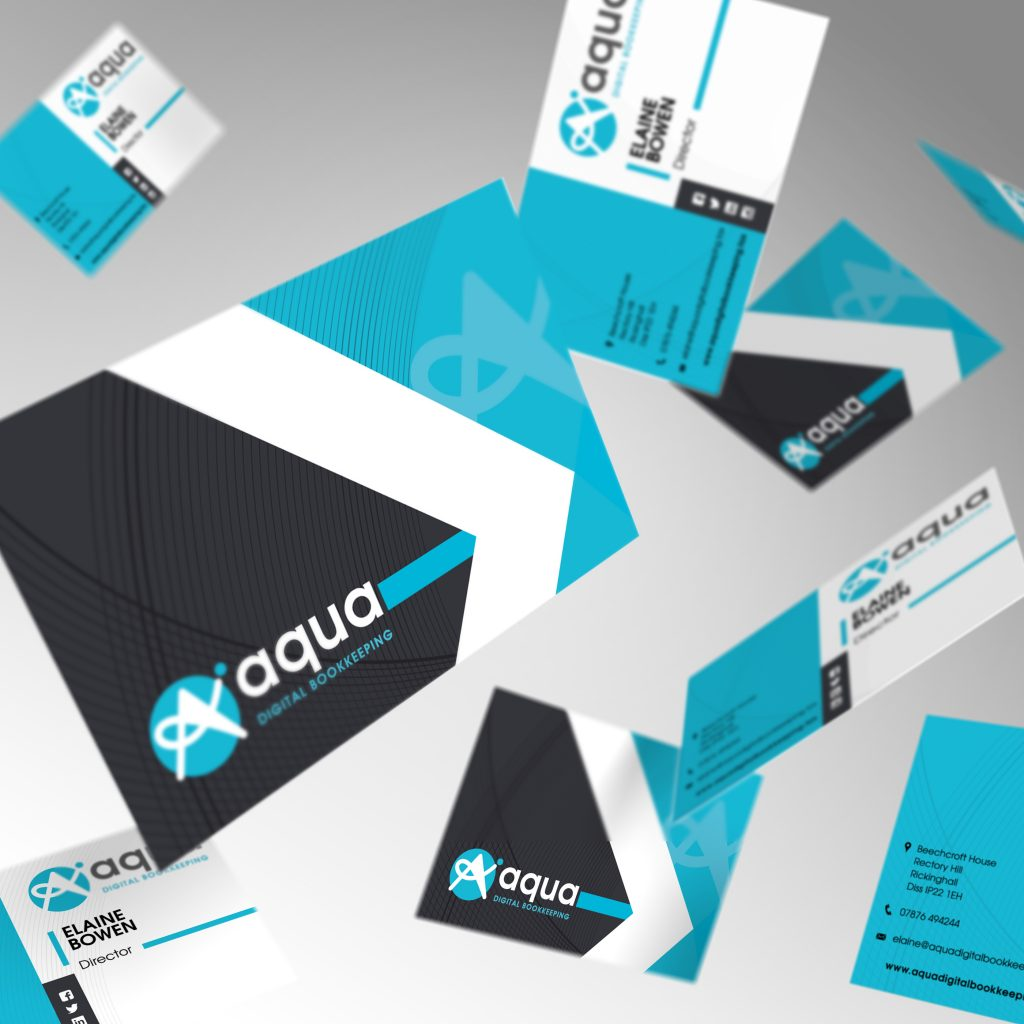 Aqua digital bookkeeping business cards showing front and back