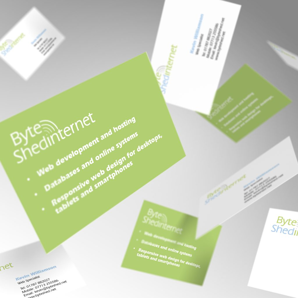 Byte Shed Internet business cards showing front and back