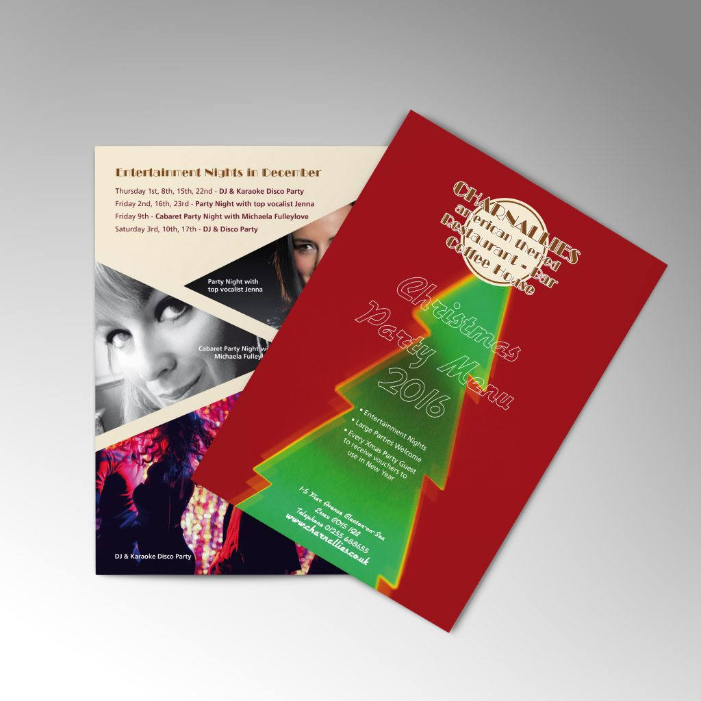 Charnallies Christmas party leaflet showing front and back pages