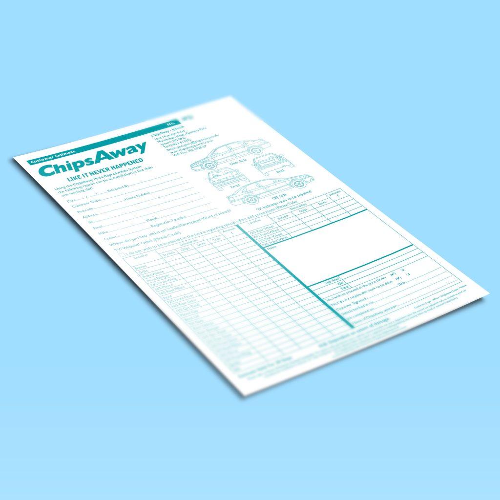 Customer estimate pads on a blue background