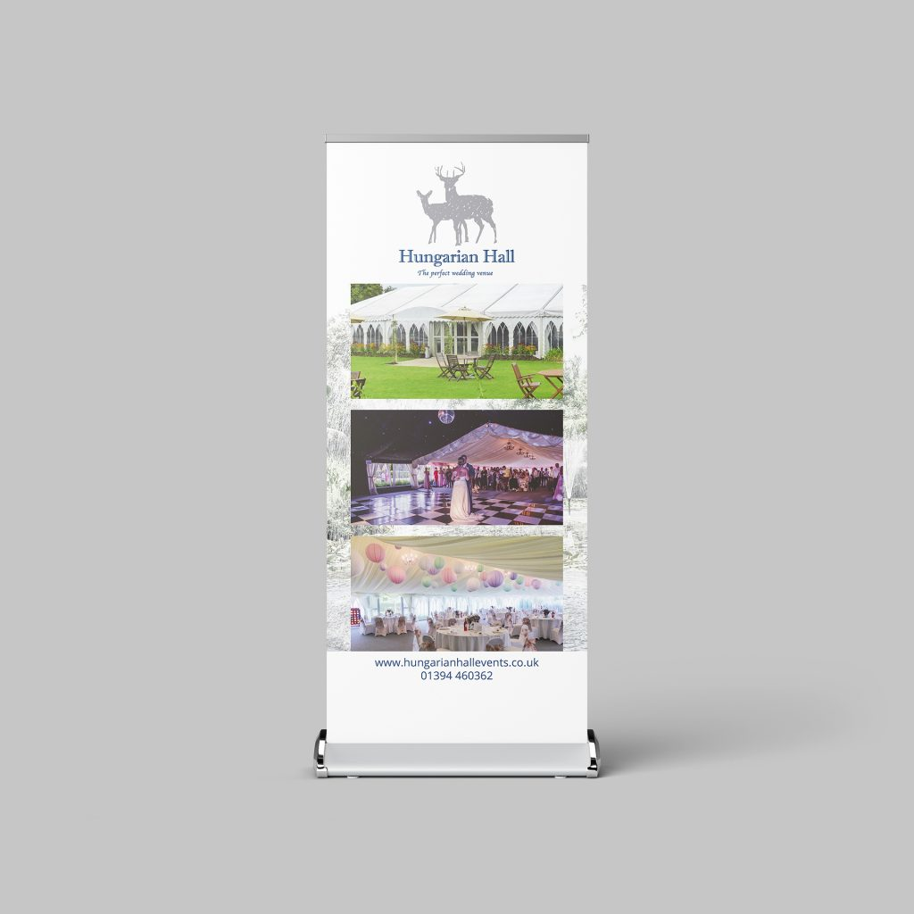 Roller banner for Hungarian Hall on a grey background