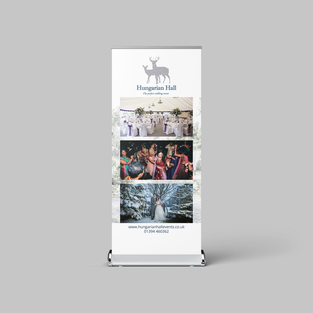 Roller banner for Hungarian Hall wedding venue