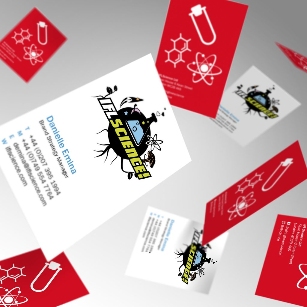 IFL Science business cards showing front and back