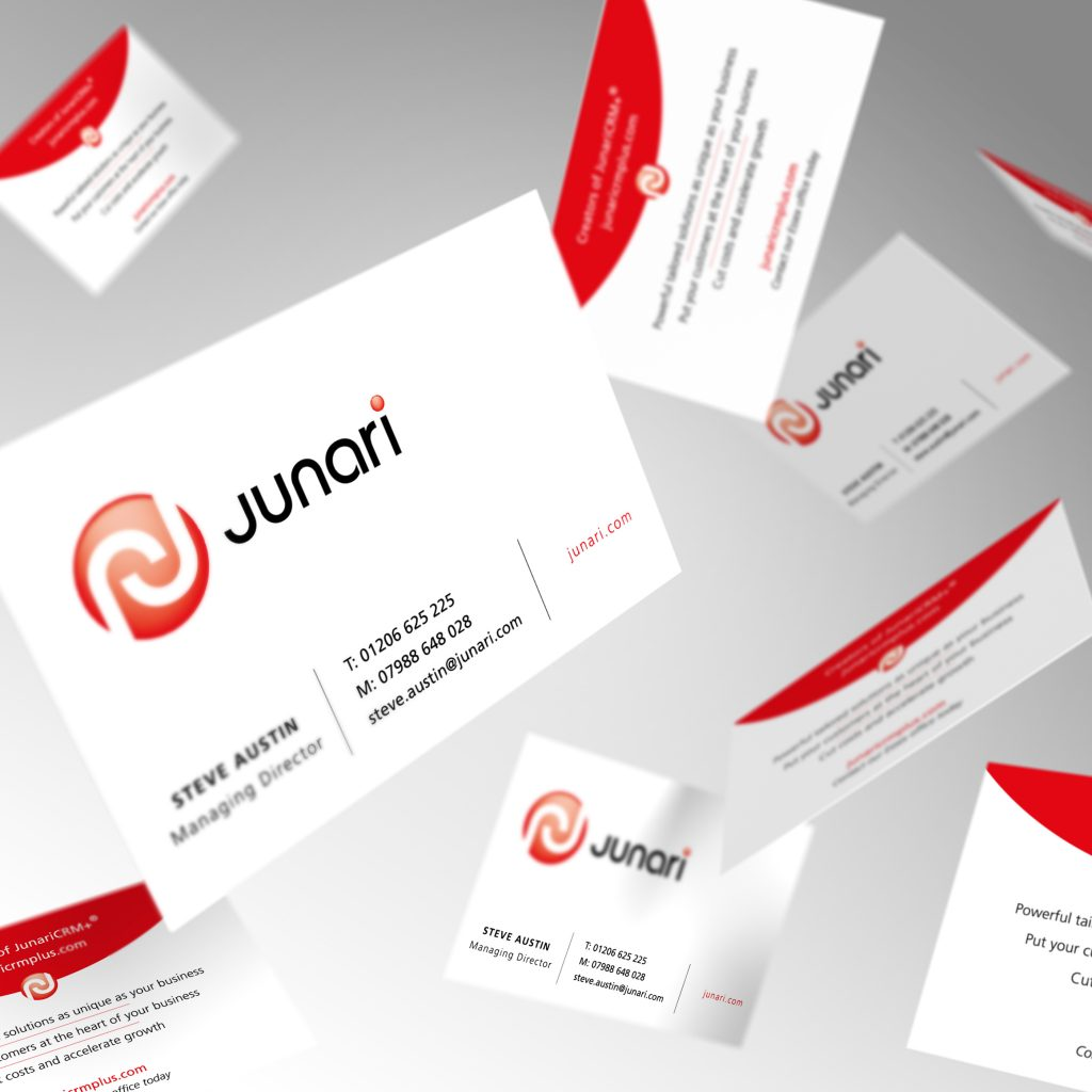 Junari business cards showing front and back