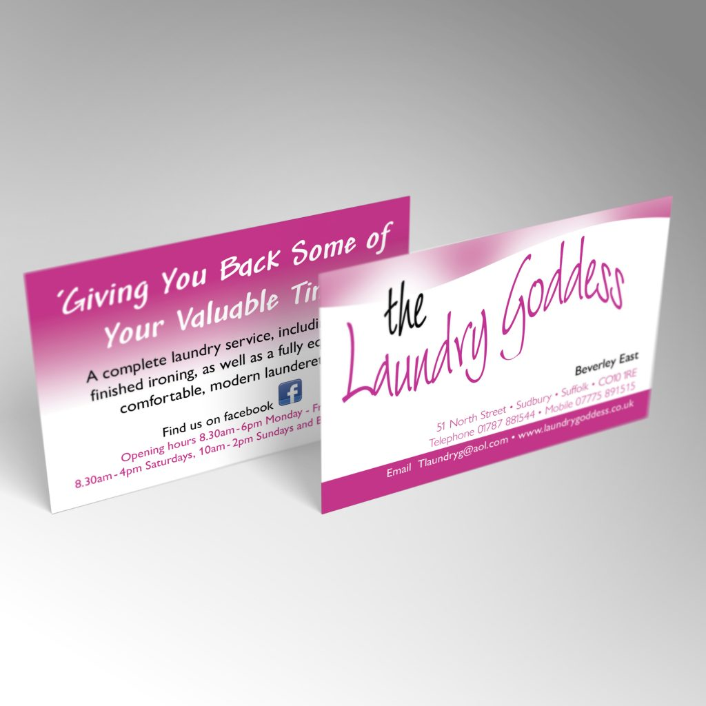 The Laundry Goddess business card front and back