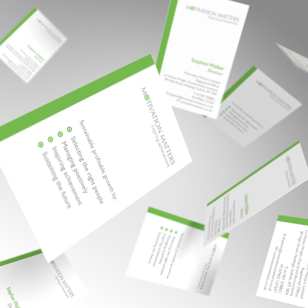 Motivation Matters business cards showing front and back