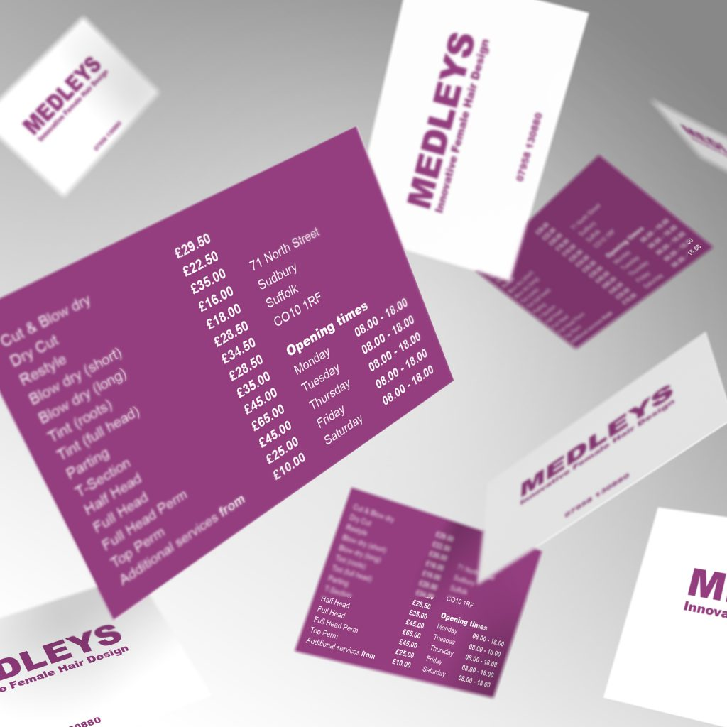 Medleys Female Hair Design business cards showing front and back