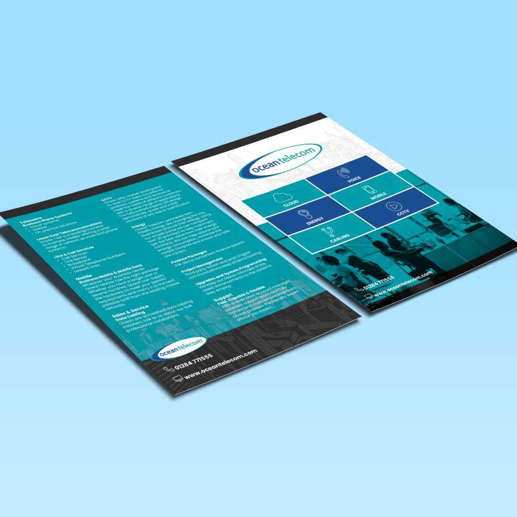 Ocean Telecom A5 flyer showing front and back