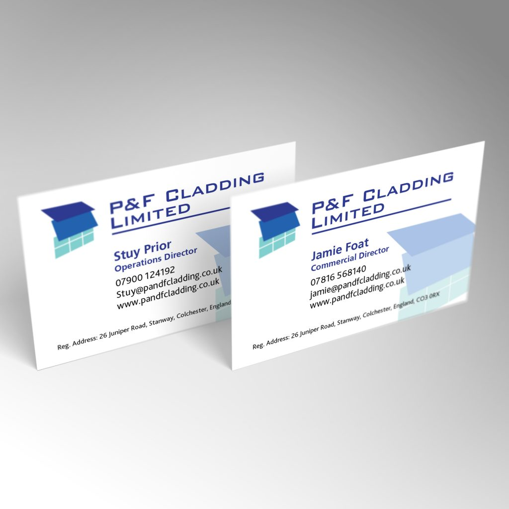 P&F Cladding business card front and back