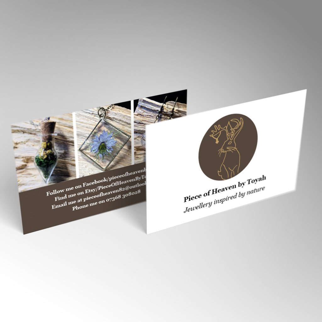 Piece of Heaven business card front and back