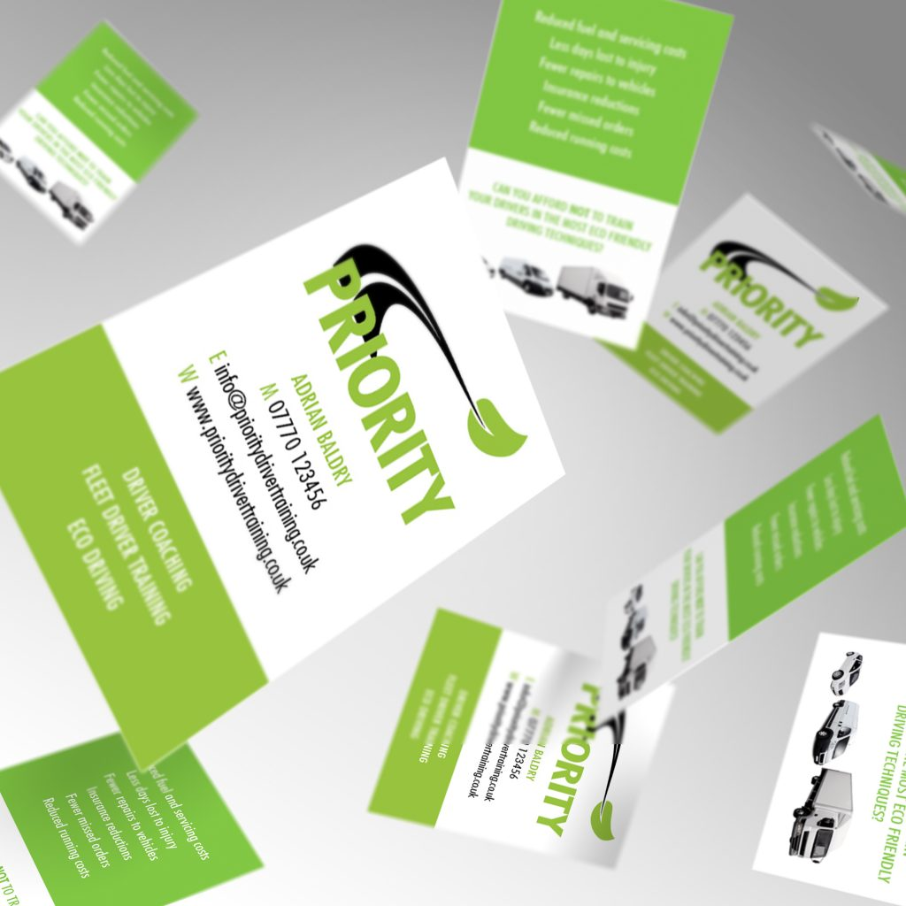 Priority Driver Training business cards showing front and back