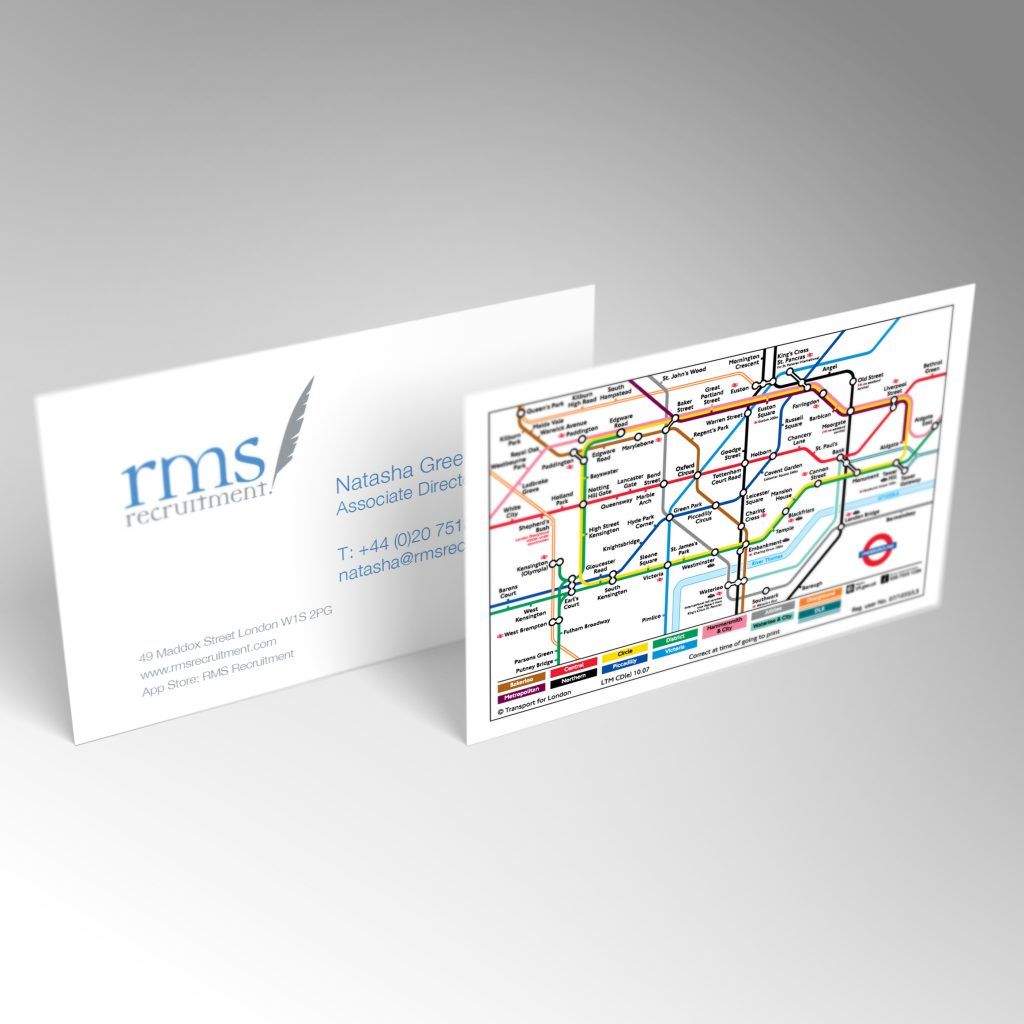RMS Recruitment business card front and back
