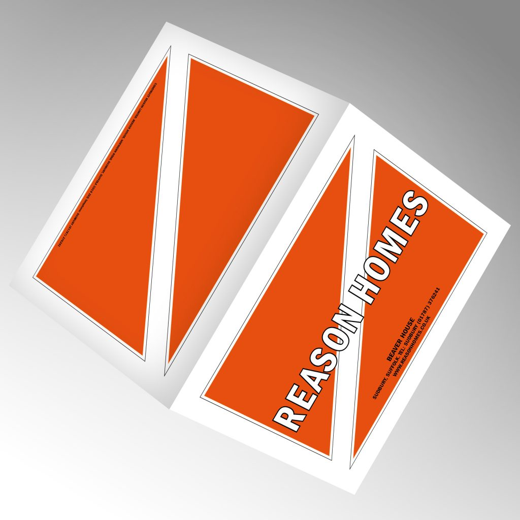 Reason Homes A4 landscape die cut folder showing front and back pages