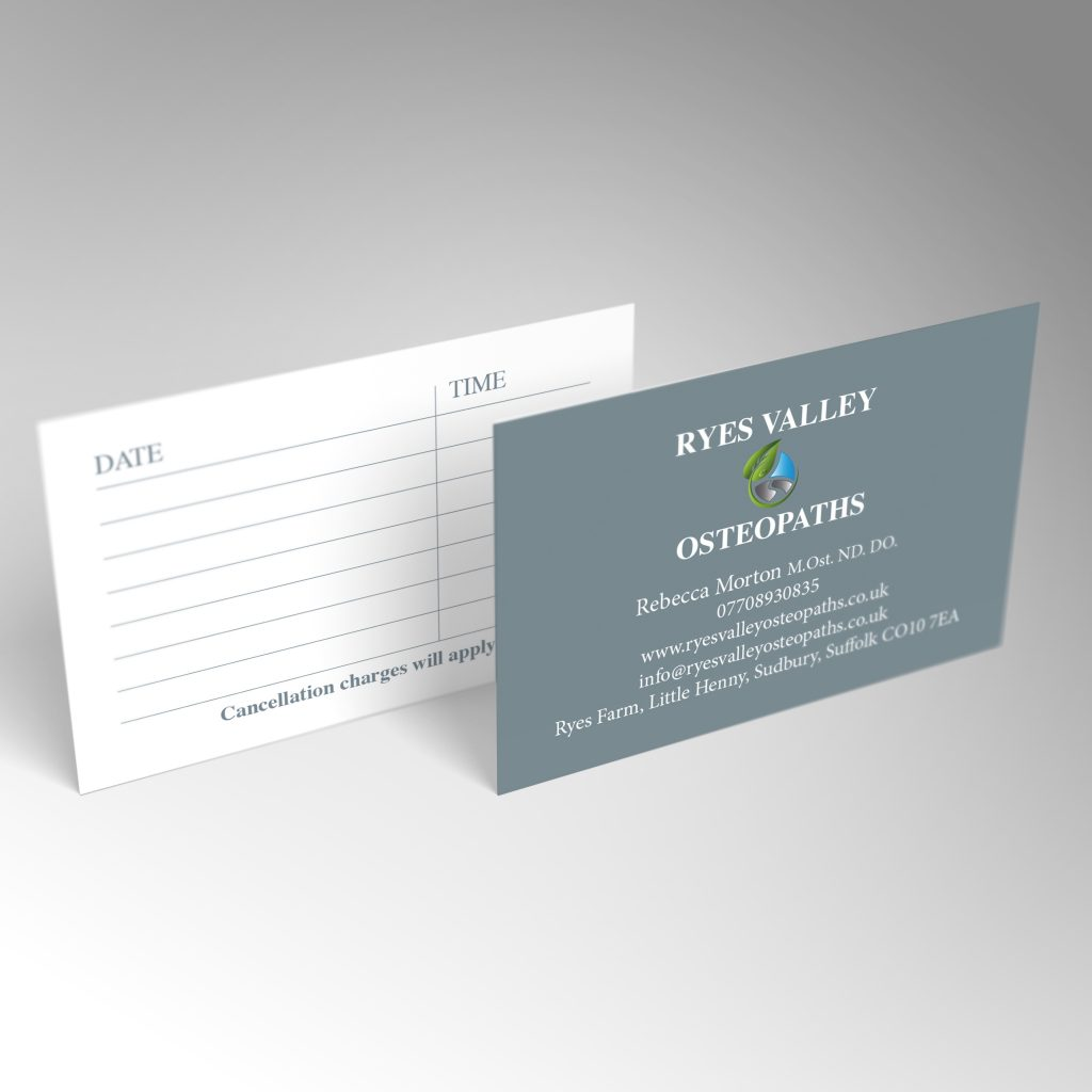 Ryes Valley Osteopaths business card front and back