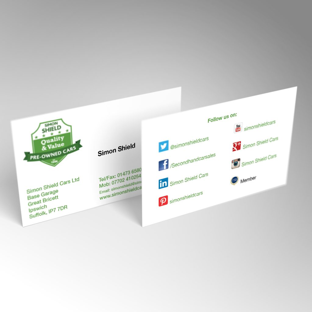 Simon Shield Cars business card front and back