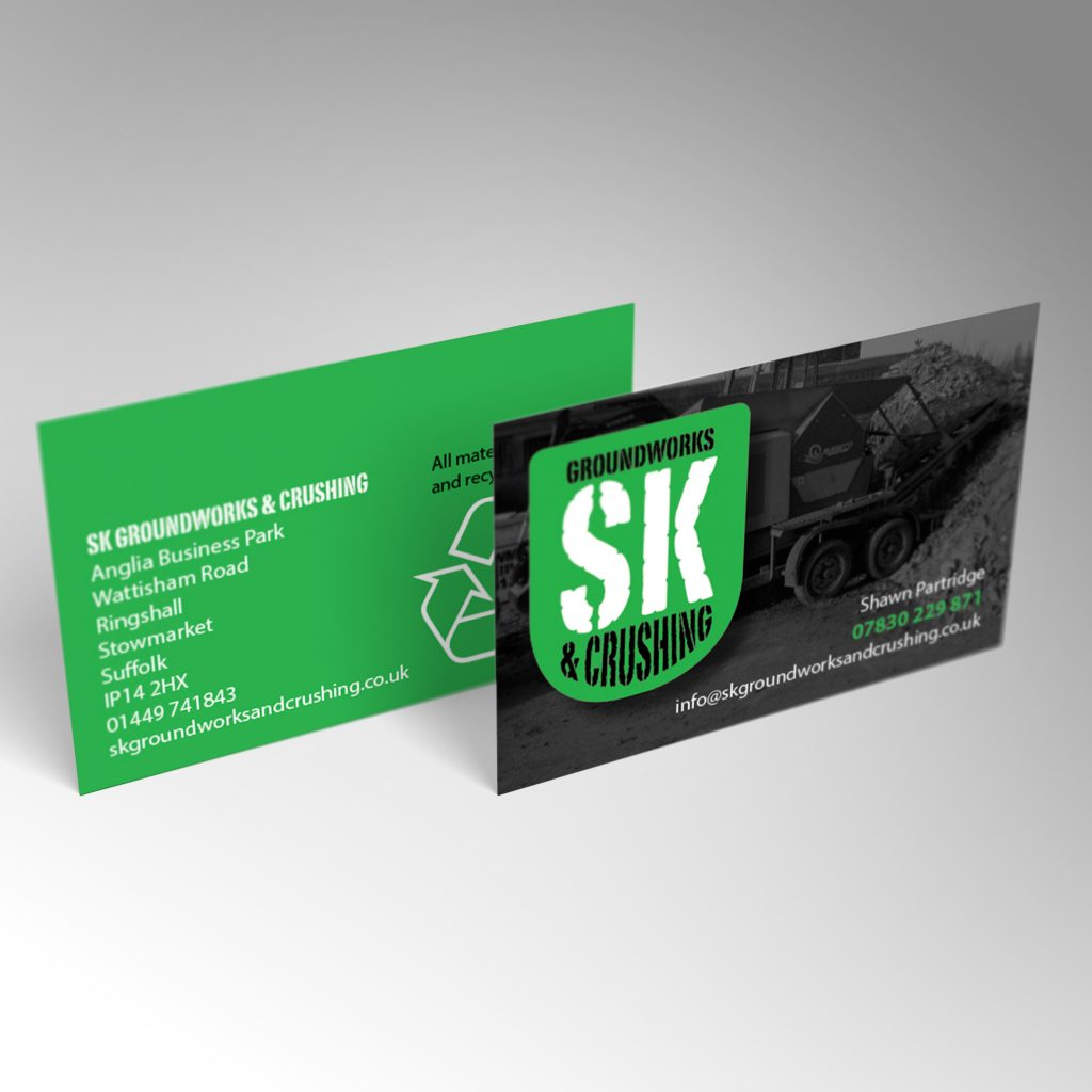 SK Groundworks business card front and back