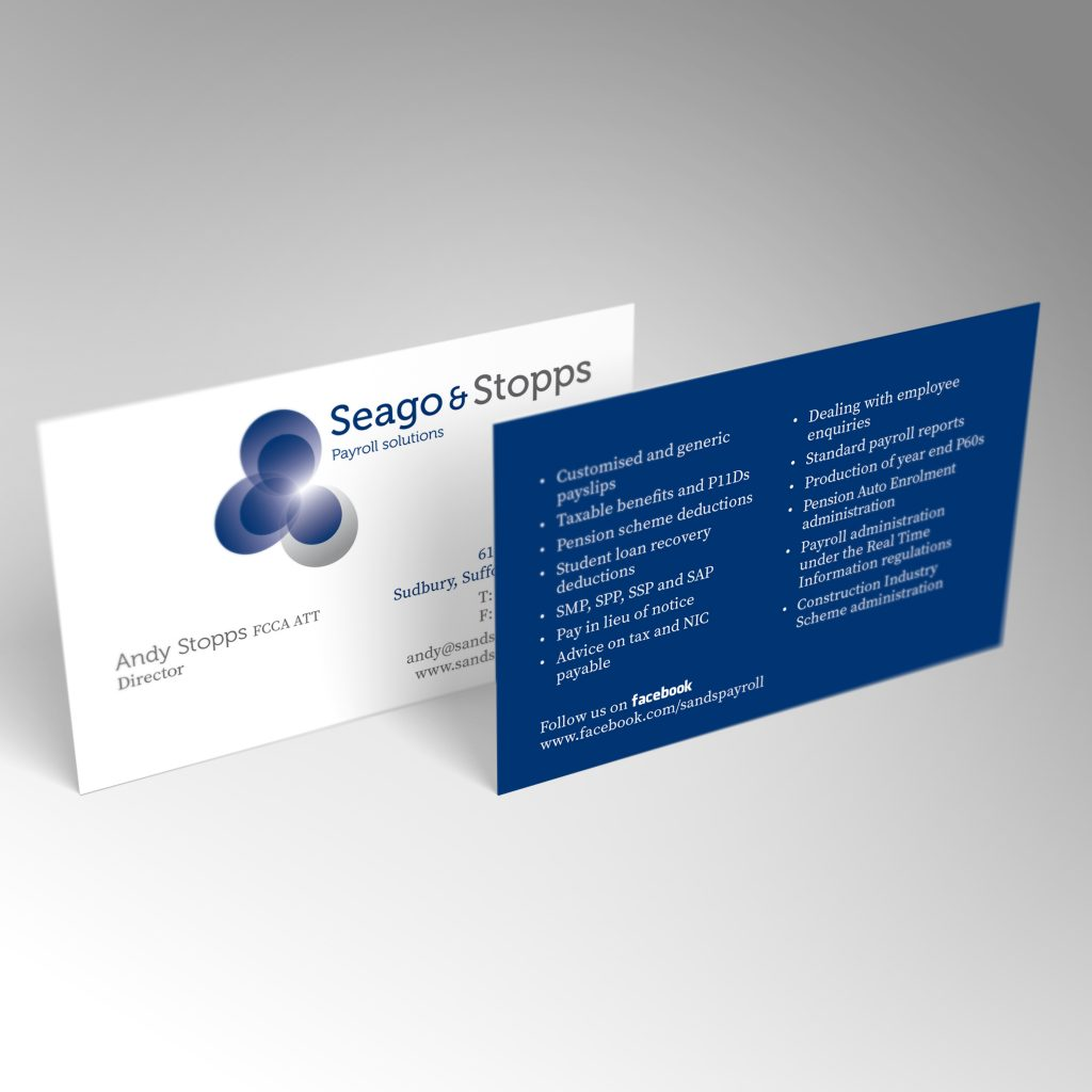 Payroll Solutions business card front and back