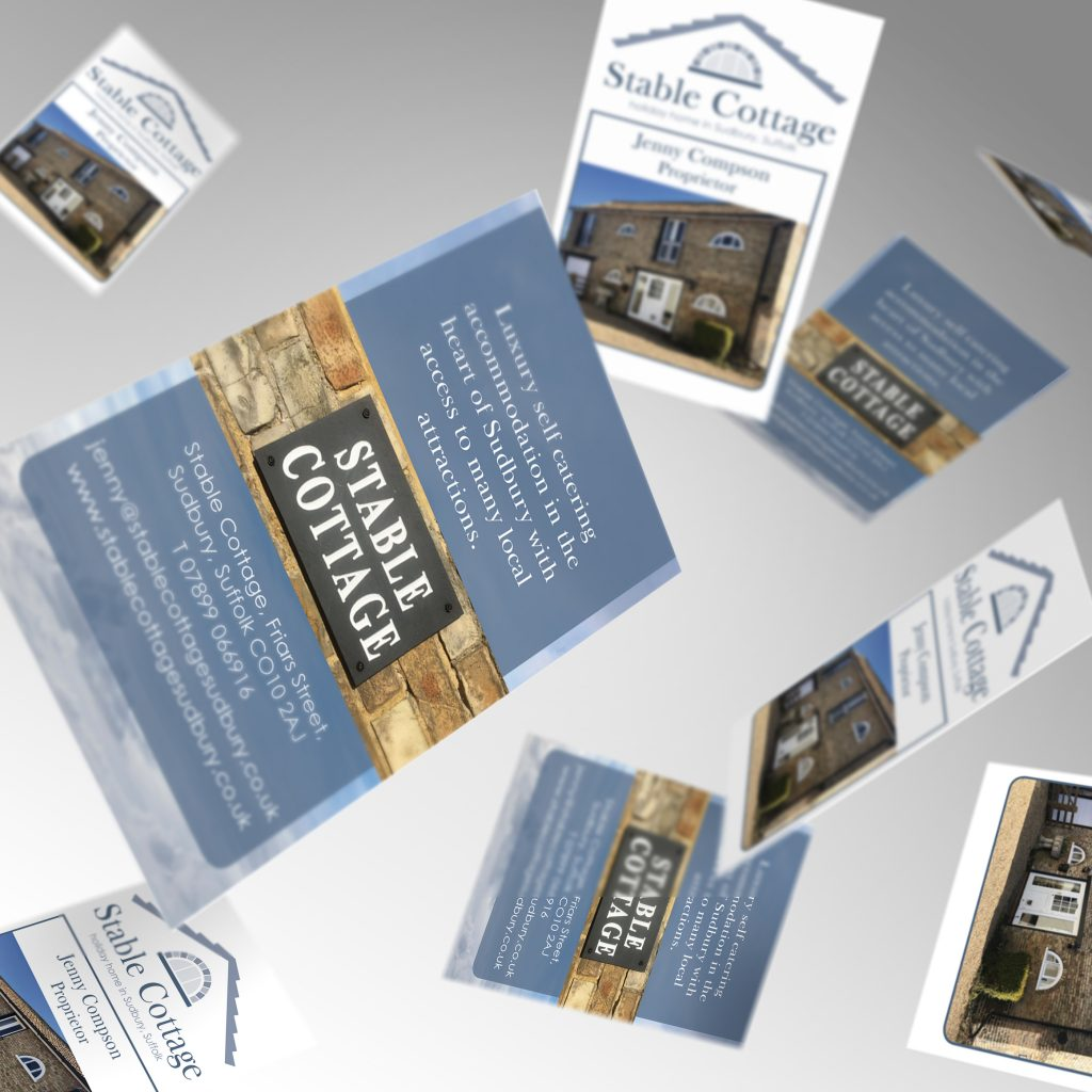 Stable Cottage business cards showing front and back