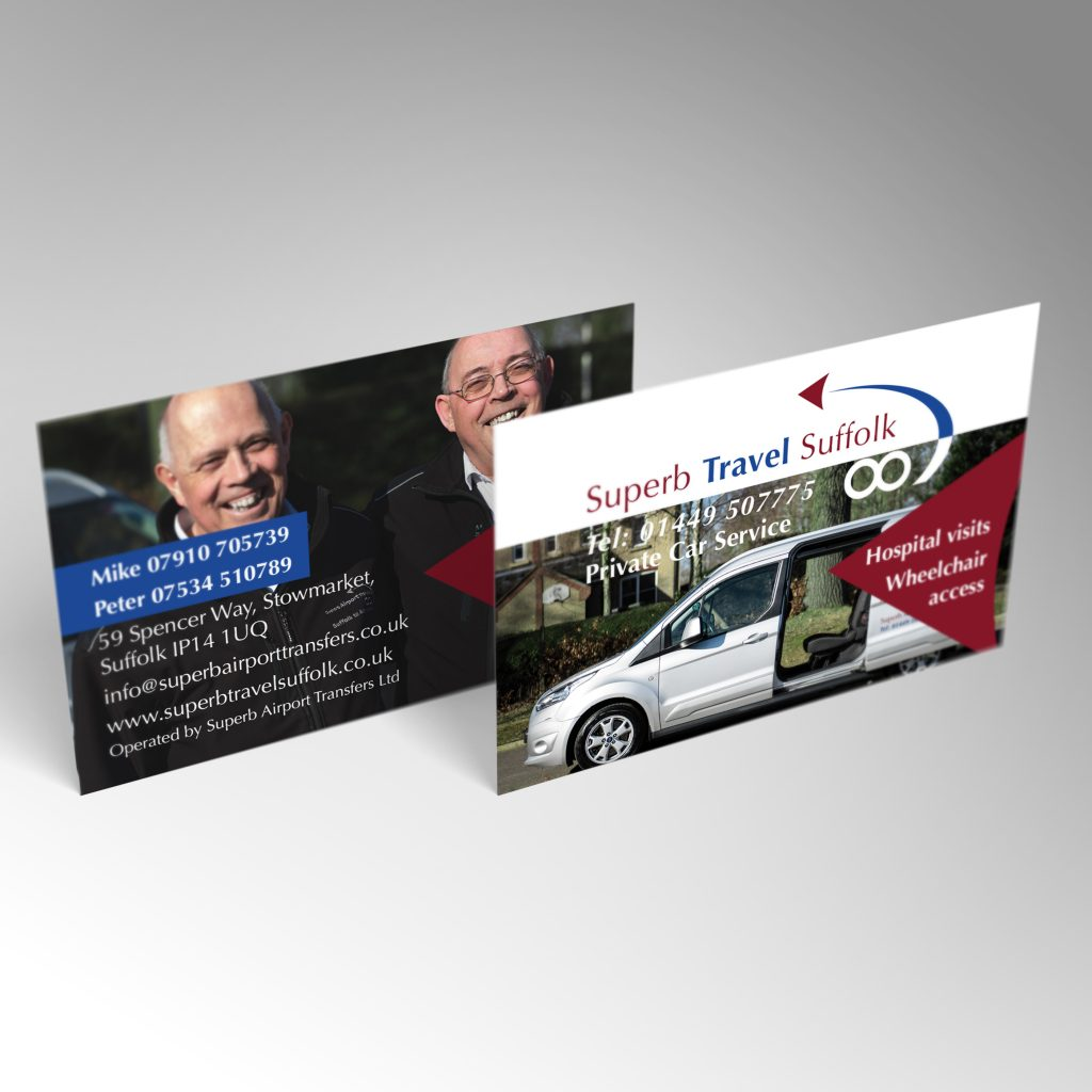 Superb Travel Suffolk business card front and back