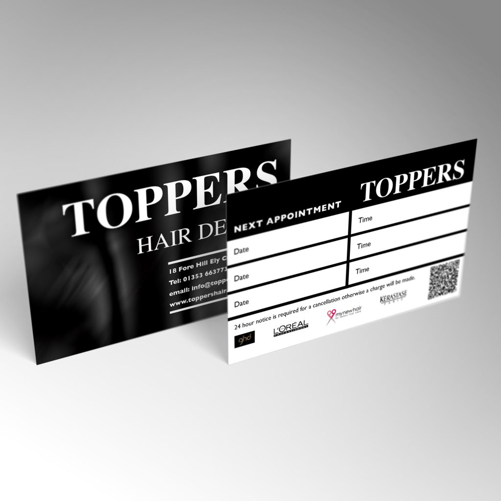 Toppers Hair Design business card front and back