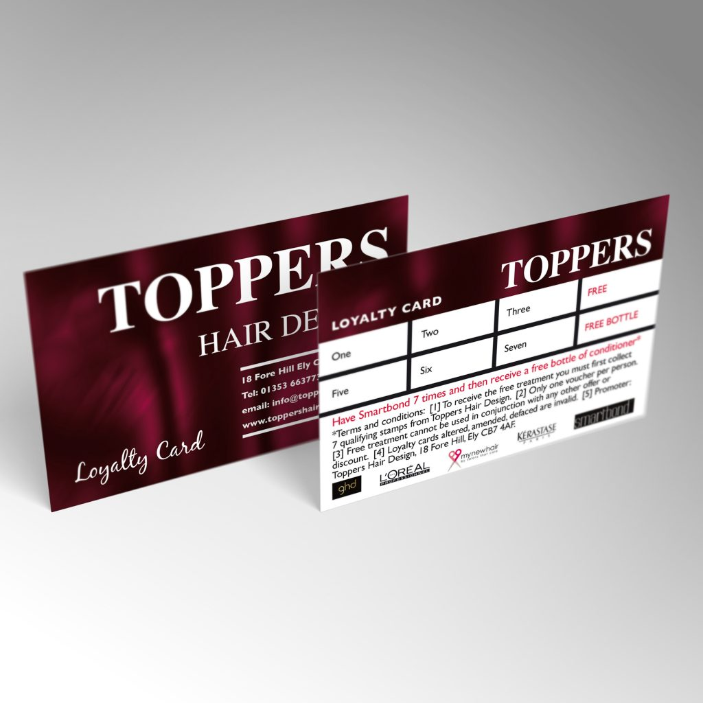 Toppers Hair Design loyalty card front and back