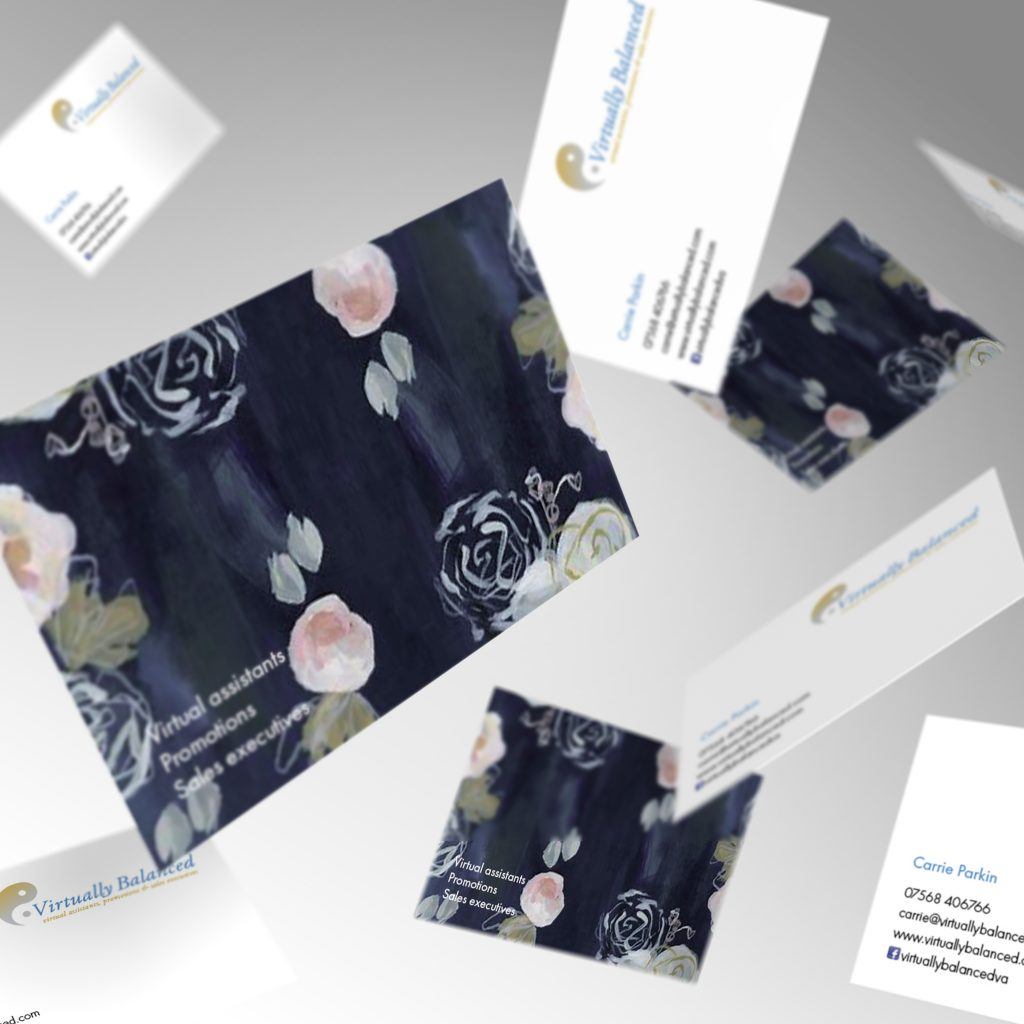 Virtually Balanced business cards showing front and back