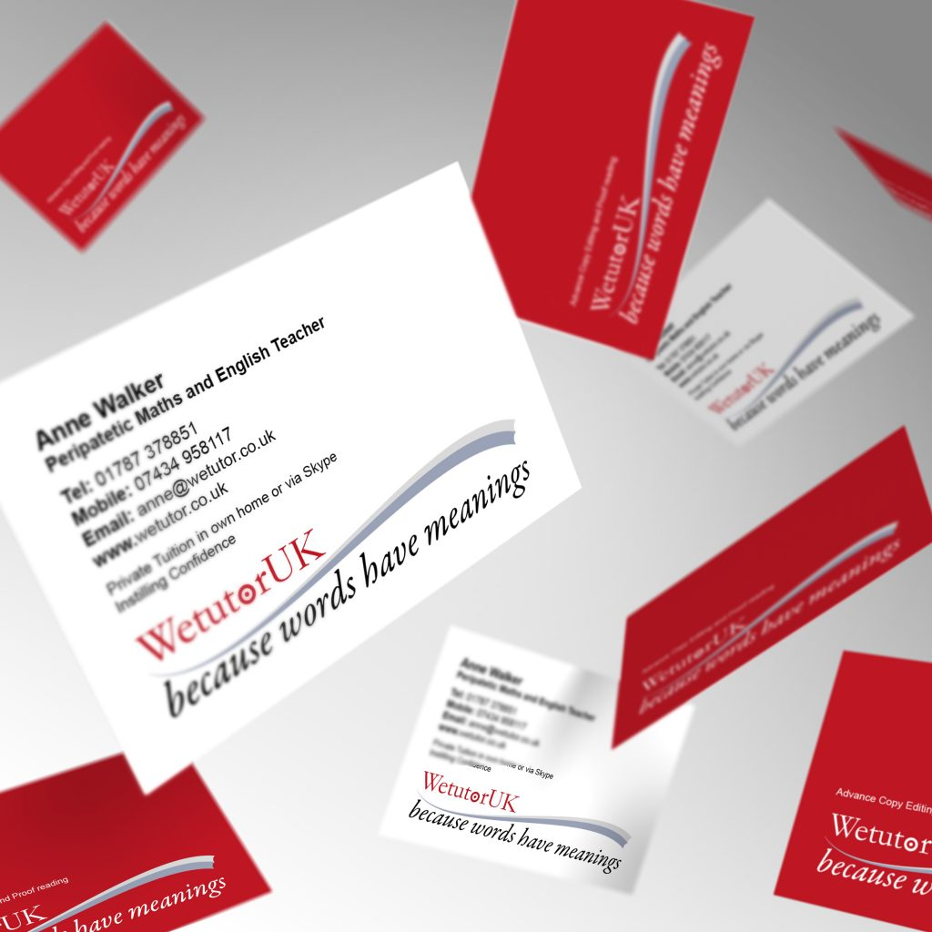 We Tutor business cards showing front and back
