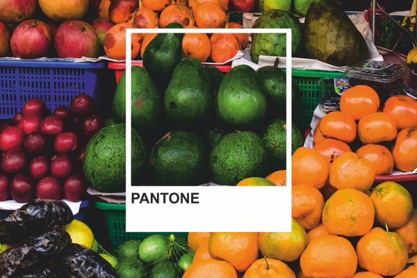 Pantone colour swatch set against a background of fresh fruit