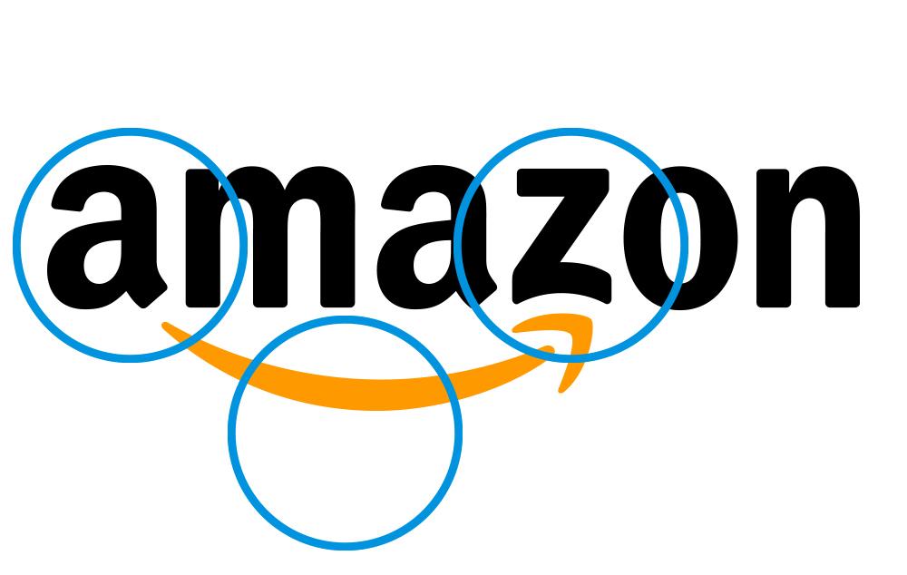 Amazon logo with blue circles as highlights