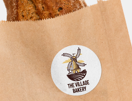 Label on a fresh bread paper bag